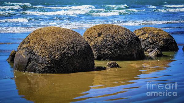 Photograph - Moeraki Boulders, New Zealand by Lyl Dil Creations