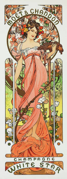 Alfons Mucha Painting - Moet Chandon Champagne, White Star - Digital Remastered Edition by Alfons Maria Mucha