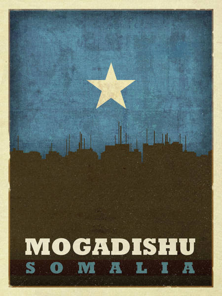 Wall Art - Mixed Media - Mogadishu Somalia City Skyline Flag by Design Turnpike