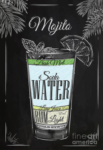 Wall Art - Digital Art - Mojito Cocktail In Vintage Style by Anna42f