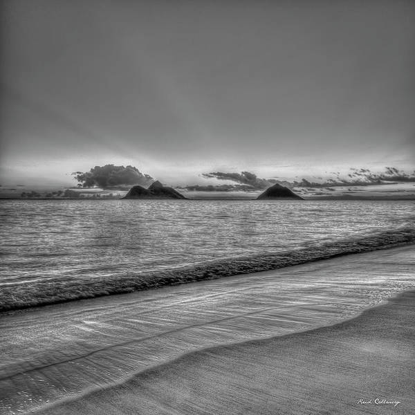 Wall Art - Photograph - Mokulua Islands B W Lanikai Beach Sunrise Oahu Hawaii Art by Reid Callaway