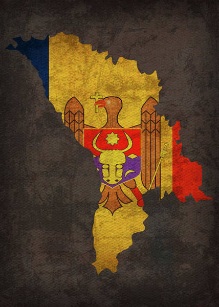 Moldova Wall Art - Mixed Media - Moldova Country Flag Map by Design Turnpike