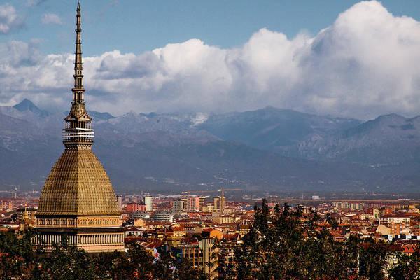 Exterior Photograph - Mole Antonelliana, Torino And Alps by Rodolfo Rodríguez Castro