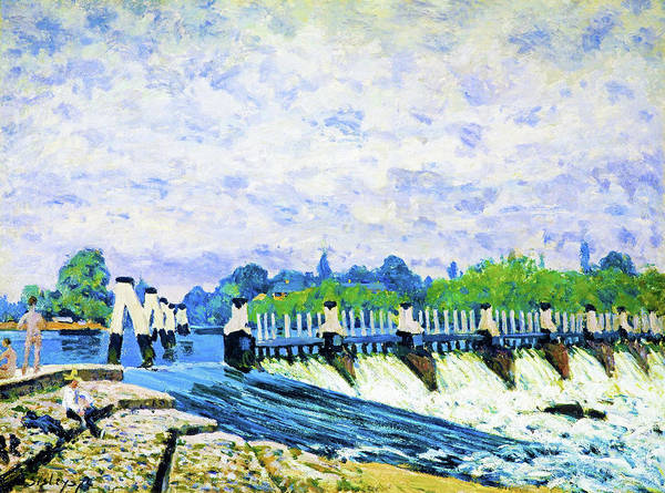 Wall Art - Painting - Molesey Weir, Hampton Court - Digital Remastered Edition by Alfred Sisley
