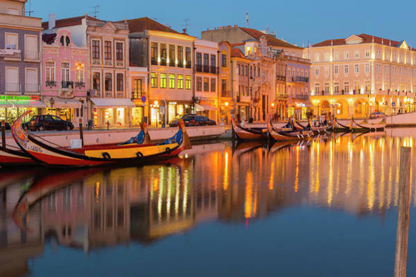 Wall Art - Photograph - Moliceiros Moored Along The Main Canal At Dusk Aveiro Venice Of Portugal Beira Litoral Portugal by imageBROKER - GTW