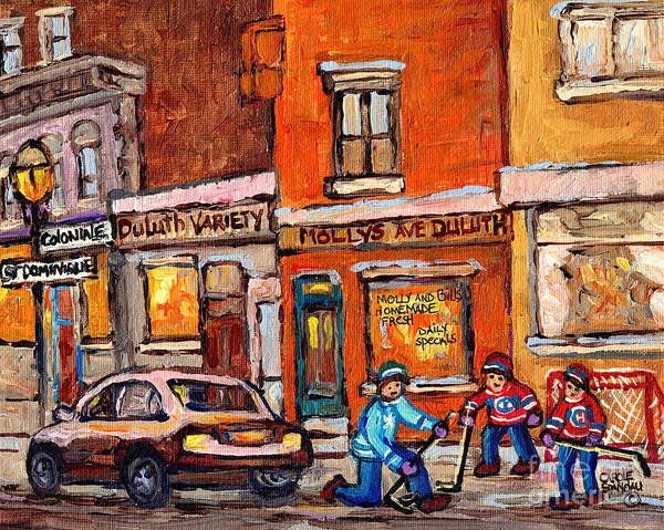 Painting - Molly And Bill's Duluth Near Coloniale And St Dominique C Spandau Plateau Mont Royal Hockey Artist  by Carole Spandau