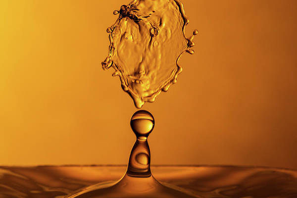 Photograph - Molten Caramel Water Drop Collision by SR Green