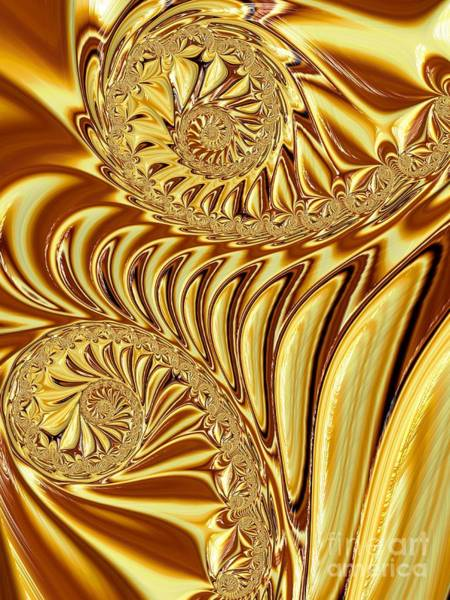 Digital Art - Molten Liquid Gold Fractal Abstract by Rose Santuci-Sofranko