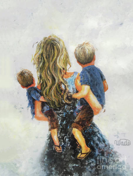 Wall Art - Painting - Mommy, Carry Me Too Two Sons Blondes by Vickie Wade