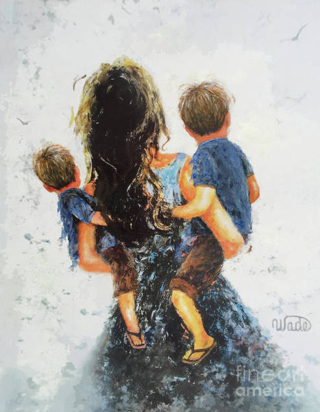 Wall Art - Painting - Mommy, Carry Me Too Two Sons by Vickie Wade