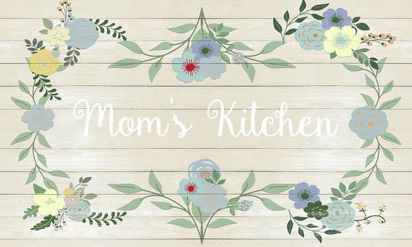 Mom Digital Art - Mom's Kitchen On Beige Wood by Sd Graphics Studio