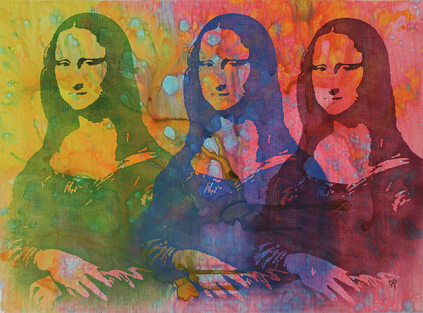 Mona Lisa Wall Art - Painting - Mona Lisa 3up by Dean Russo Art