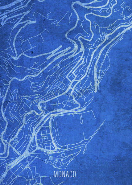 Wall Art - Mixed Media - Monaco Europe City Street Map Blueprints by Design Turnpike
