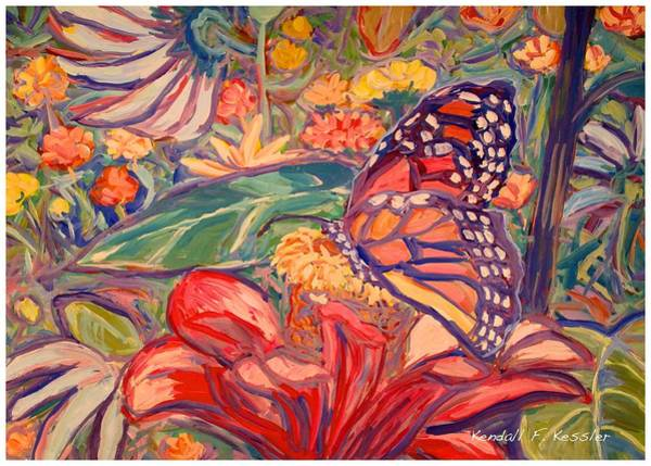 Painting - Monarch On Red by Kendall Kessler