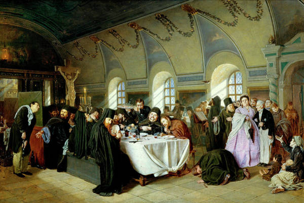 Vice Painting - Monastic Refectory by Vasily Perov
