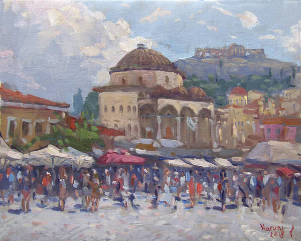 Shopping Painting - Monastiraki Athens by Ylli Haruni