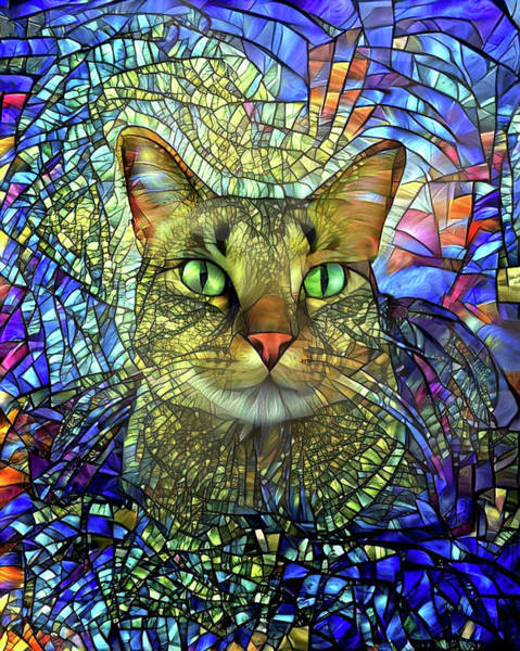 Wall Art - Digital Art - Monet The Stained Glass Tabby Cat by Peggy Collins