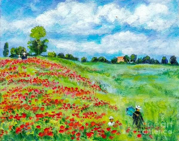 Wall Art - Painting - Monet's Poppy Field by Asha Sudhaker Shenoy