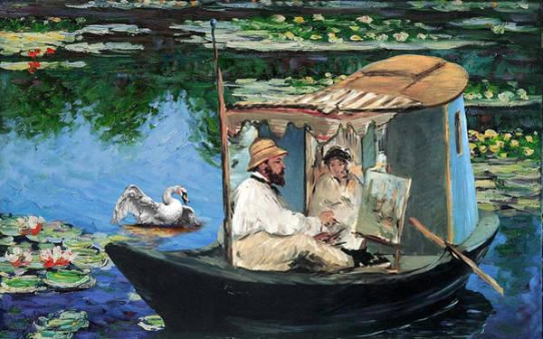 Swan Boats Digital Art - Monet's Retreat by Laura Botsford