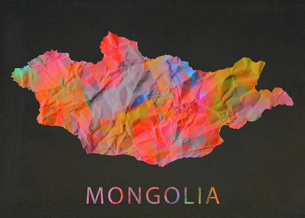 Wall Art - Mixed Media - Mongolia Tie Dye Country Map by Design Turnpike