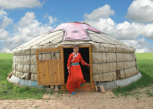 Chinese Girl Wall Art - Photograph - Mongolian Girl Stepping Out Of Her Yurt by Nancy Brown