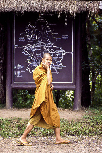 Photograph - Monk In A Hurry In Thailand by Robert Woodward