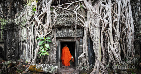 Angkor Wall Art - Photograph - Monk In Angkor Wat Cambodia. Ta Prohm by Banana Republic Images