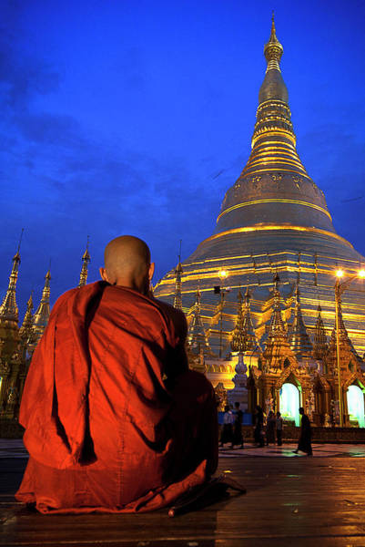 Shaved Head Photograph - Monk In Shwedagon Pagode In Yangon by Daniel Osterkamp