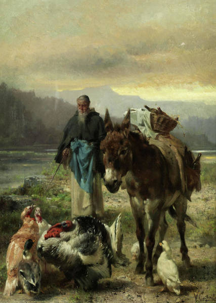 Monk Painting - Monk With A Donkey At Home by Vincenzo Caprile