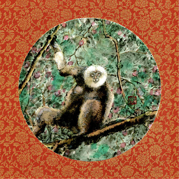 Chinese Brush Painting - Monkey - 1 by River Han