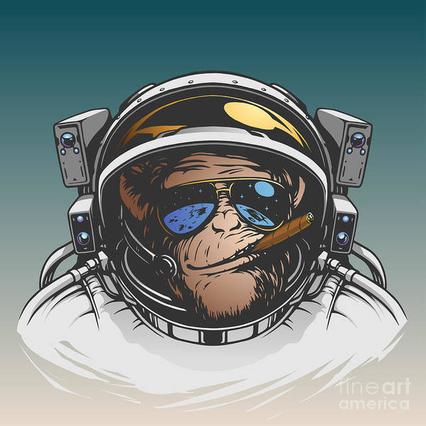Cosmonaut Wall Art - Digital Art - Monkey Astronaut Illustration by D1sk