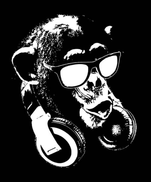 Wall Art - Digital Art - Monkey Dj Minimalistic by Filip Hellman