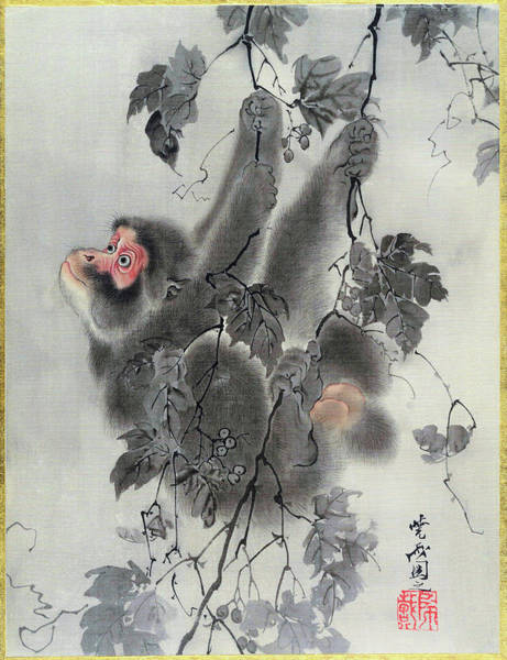 Monkey Painting - Monkey Hanging From Grapevines - Digital Remastered Edition by Kawanabe Kyosai