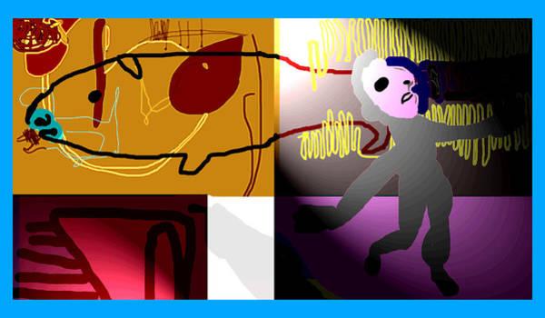 Digital Art - Monkey Strolling Round His House by Artist Dot