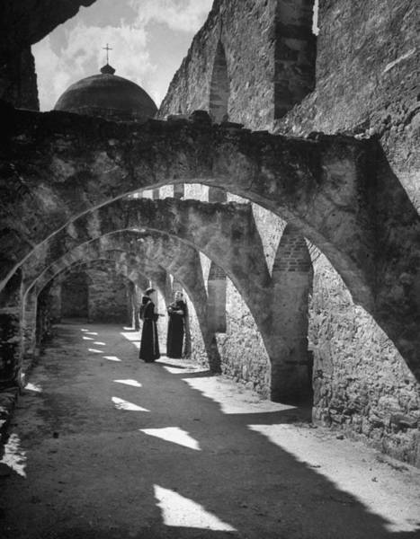Cloister Photograph - Monks In Cloister Of Church Of San Jose by Alfred Eisenstaedt