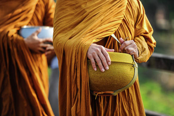 People Walking Photograph - Monks Walking To Merit-making People by © Rawitat Pulam