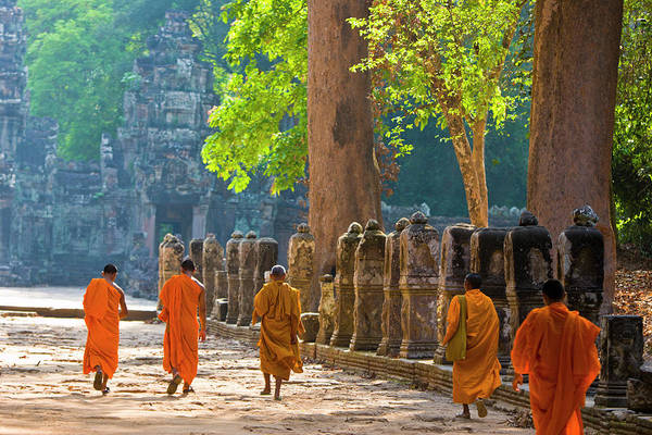 Reap Photograph - Monks Walking To Temple In Early by Stuart Dee