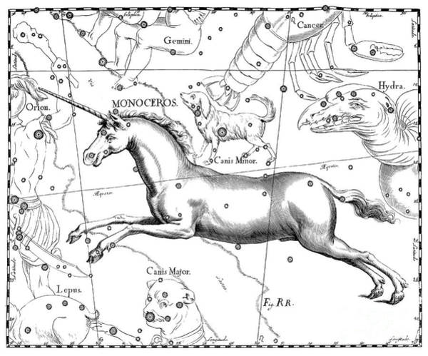 Wall Art - Drawing - Monoceros, Constellation Of The Unicorn by Johann Hevelius