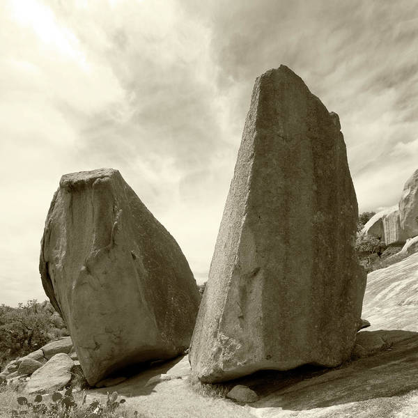 Enchanted Rock State Park Photograph - Monochromatic Toned Square Image Rock by Nkbimages