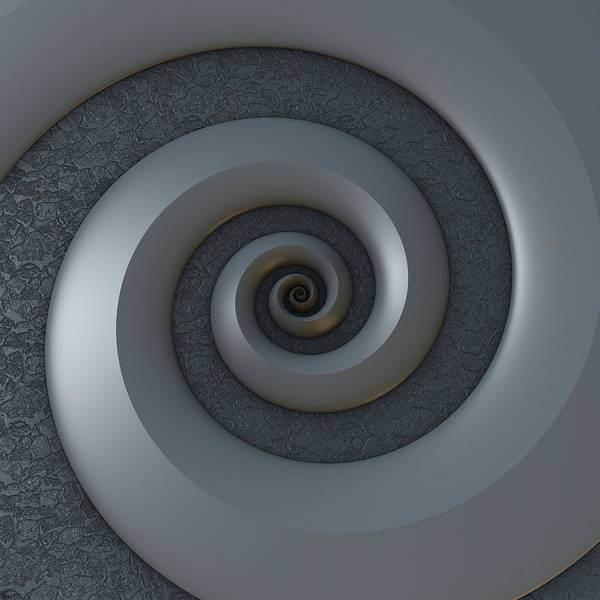 Light And Shadow Digital Art - Monochrome 3-d Spiral by Lyle Hatch