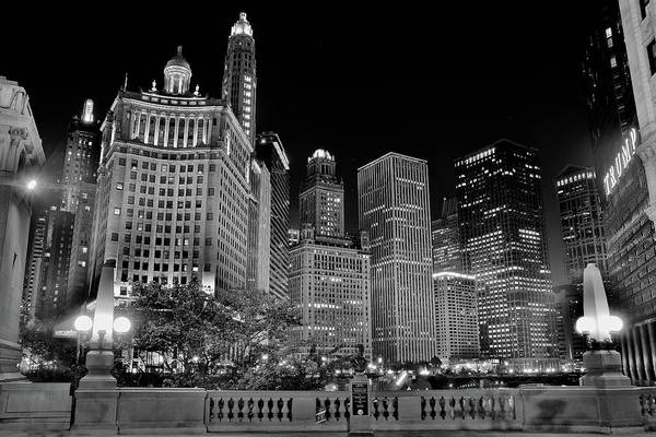Wall Art - Photograph - Monochrome Alongside The Chicago River by Frozen in Time Fine Art Photography