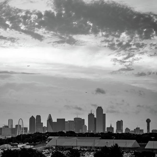 Photograph - Monochrome Architecture Of The Dallas Skyline - Square Format by Gregory Ballos