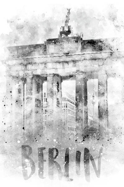 Wall Art - Photograph - Monochrome Art Berlin Brandenburg Gate - Watercolor by Melanie Viola