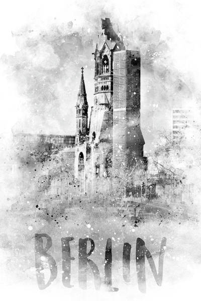 Wall Art - Photograph - Monochrome Art Berlin Kaiser Wilhelm Memorial Church - Watercolor by Melanie Viola