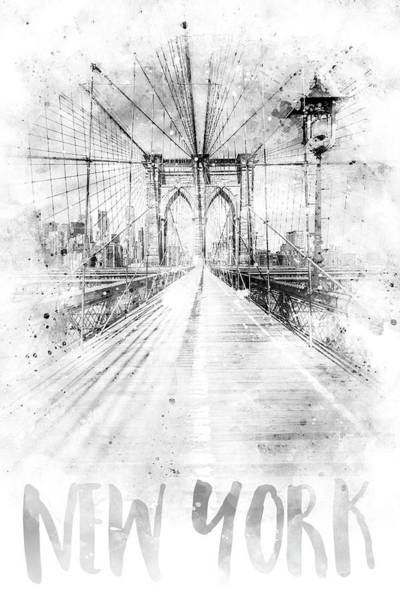 Wall Art - Photograph - Monochrome Art Nyc Brooklyn Bridge - Watercolor by Melanie Viola