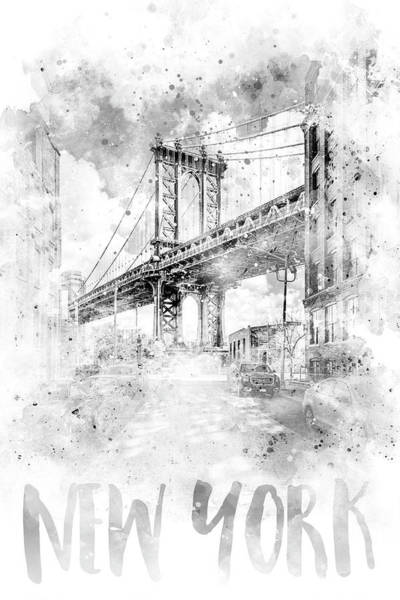 Wall Art - Photograph - Monochrome Art Nyc Manhattan Bridge - Watercolor by Melanie Viola