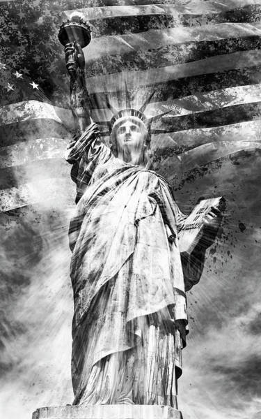 Wall Art - Photograph - Monochrome Art Statue Of Liberty by Melanie Viola