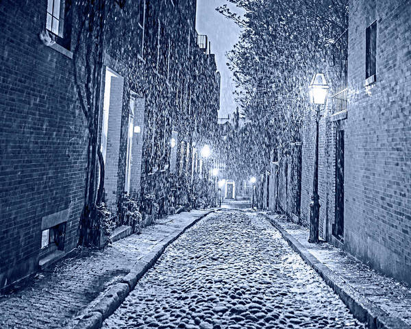 Photograph - Monochrome Blue Nights Snowstorm On Acorn Street Boston Ma by Toby McGuire