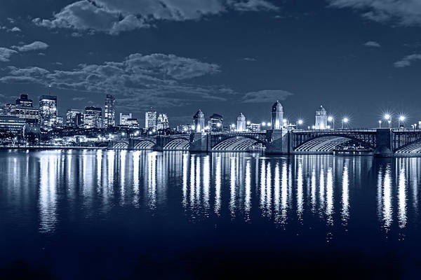 Photograph - Monochrome Blue Nights The Longfellow Bridge Lit Up At Night Boston Ma Reflection by Toby McGuire