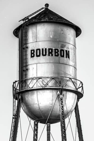 Photograph - Monochrome Bourbon Water Tower - Whiskey Decor by Gregory Ballos